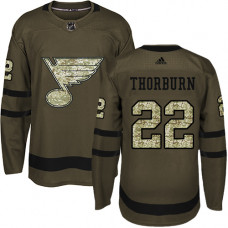 Youth Chris Thorburn Premier St. Louis Blues #22 Green Salute to Service Jersey
