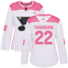 Women's Chris Thorburn Authentic St. Louis Blues #22 White/Pink Fashion Jersey
