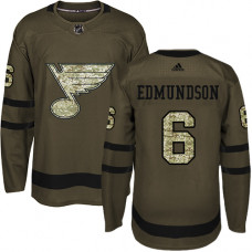 Youth Joel Edmundson Authentic St. Louis Blues #6 Green Salute to Service Jersey