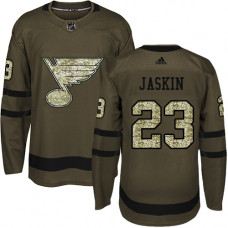 Youth Dmitrij Jaskin Premier St. Louis Blues #23 Green Salute to Service Jersey