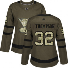 Women's Tage Thompson Authentic St. Louis Blues #32 Green Salute to Service Jersey