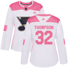 Women's Tage Thompson Authentic St. Louis Blues #32 White/Pink Fashion Jersey
