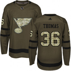 Youth Robert Thomas Premier St. Louis Blues #36 Green Salute to Service Jersey