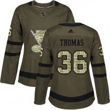 Women's Robert Thomas Authentic St. Louis Blues #36 Green Salute to Service Jersey