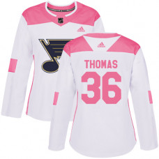 Women's Robert Thomas Authentic St. Louis Blues #36 White/Pink Fashion Jersey