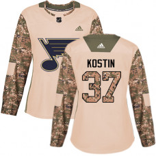 Women's Klim Kostin Authentic St. Louis Blues #37 Camo Veterans Day Practice Jersey