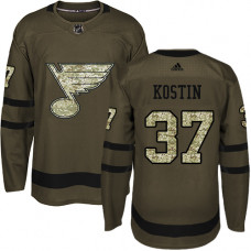 Youth Klim Kostin Premier St. Louis Blues #37 Green Salute to Service Jersey
