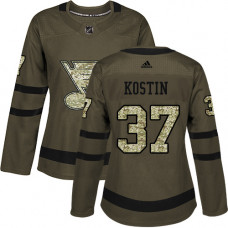 Women's Klim Kostin Authentic St. Louis Blues #37 Green Salute to Service Jersey