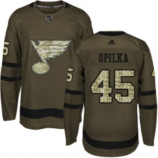 Luke Opilka Authentic St. Louis Blues #45 Green Salute to Service Jersey