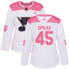 Women's Luke Opilka Authentic St. Louis Blues #45 White/Pink Fashion Jersey