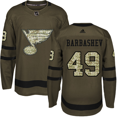 Youth Ivan Barbashev Premier St. Louis Blues #49 Green Salute to Service Jersey