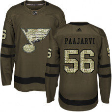 Youth Magnus Paajarvi Premier St. Louis Blues #56 Green Salute to Service Jersey