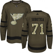 Youth Vladimir Sobotka Authentic St. Louis Blues #71 Green Salute to Service Jersey
