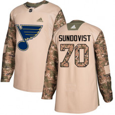 Youth Oskar Sundqvist Authentic St. Louis Blues #70 Camo Veterans Day Practice Jersey