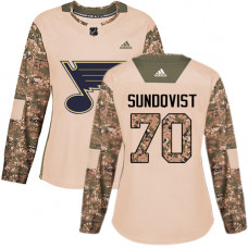 Women's Oskar Sundqvist Authentic St. Louis Blues #70 Camo Veterans Day Practice Jersey