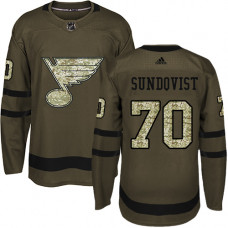 Youth Oskar Sundqvist Authentic St. Louis Blues #70 Green Salute to Service Jersey
