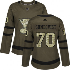 Women's Oskar Sundqvist Authentic St. Louis Blues #70 Green Salute to Service Jersey