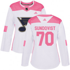 Women's Oskar Sundqvist Authentic St. Louis Blues #70 White/Pink Fashion Jersey