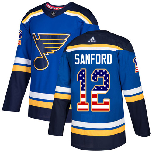 Zach Sanford Authentic St. Louis Blues #12 Blue USA Flag Fashion Jersey