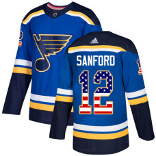 Youth Zach Sanford Authentic St. Louis Blues #12 Blue USA Flag Fashion Jersey