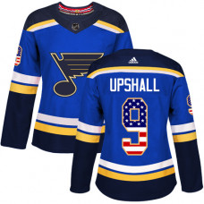 Women's Scottie Upshall Authentic St. Louis Blues #9 Blue USA Flag Fashion Jersey