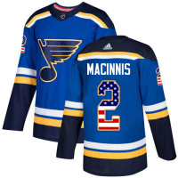 Al Macinnis Authentic St. Louis Blues #2 Blue USA Flag Fashion Jersey