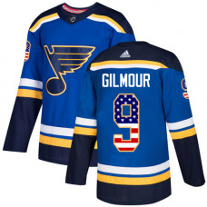 Doug Gilmour Authentic St. Louis Blues #9 Blue USA Flag Fashion Jersey