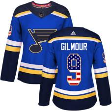 Women's Doug Gilmour Authentic St. Louis Blues #9 Blue USA Flag Fashion Jersey