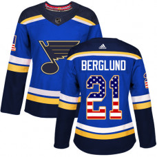Women's Patrik Berglund Authentic St. Louis Blues #21 Blue USA Flag Fashion Jersey