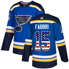 Youth Robby Fabbri Authentic St. Louis Blues #15 Blue USA Flag Fashion Jersey