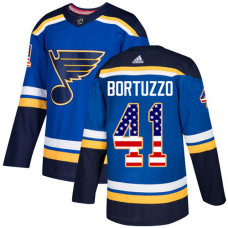 Robert Bortuzzo Authentic St. Louis Blues #41 Blue USA Flag Fashion Jersey