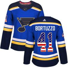 Women's Robert Bortuzzo Authentic St. Louis Blues #41 Blue USA Flag Fashion Jersey