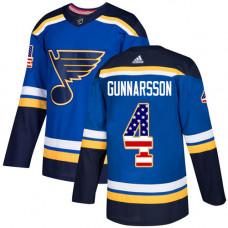 Carl Gunnarsson Authentic St. Louis Blues #4 Blue USA Flag Fashion Jersey