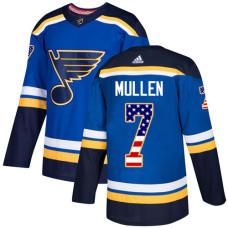 Joe Mullen Authentic St. Louis Blues #7 Blue USA Flag Fashion Jersey
