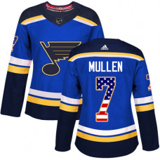 Women's Joe Mullen Authentic St. Louis Blues #7 Blue USA Flag Fashion Jersey