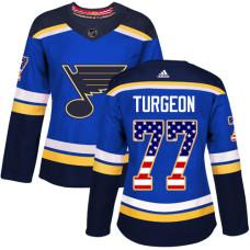 Women's Pierre Turgeon Authentic St. Louis Blues #77 Blue USA Flag Fashion Jersey