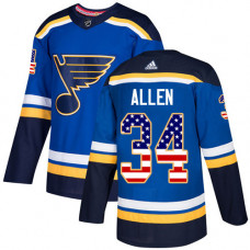 Youth Jake Allen Authentic St. Louis Blues #34 Blue USA Flag Fashion Jersey