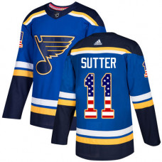 Youth Brian Sutter Authentic St. Louis Blues #11 Blue USA Flag Fashion Jersey