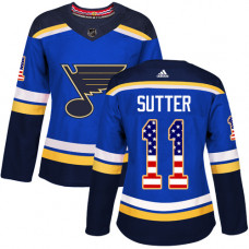 Women's Brian Sutter Authentic St. Louis Blues #11 Blue USA Flag Fashion Jersey