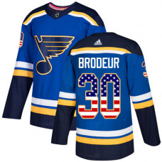 Youth Martin Brodeur Authentic St. Louis Blues #30 Blue USA Flag Fashion Jersey