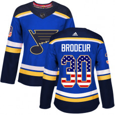 Women's Martin Brodeur Authentic St. Louis Blues #30 Blue USA Flag Fashion Jersey
