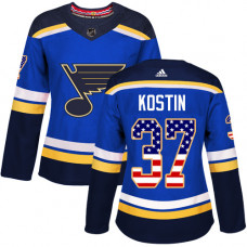 Women's Klim Kostin Authentic St. Louis Blues #37 Blue USA Flag Fashion Jersey