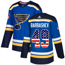 Ivan Barbashev Authentic St. Louis Blues #49 Blue USA Flag Fashion Jersey