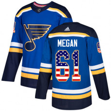 Youth Wade Megan Authentic St. Louis Blues #61 Blue USA Flag Fashion Jersey