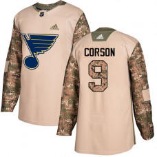 Shayne Corson Authentic St. Louis Blues #9 Camo Veterans Day Practice Jersey