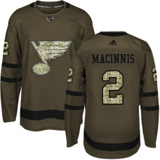 Al Macinnis Authentic St. Louis Blues #2 Green Salute to Service Jersey