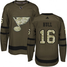 Brett Hull Premier St. Louis Blues #16 Green Salute to Service Jersey