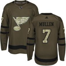 Joe Mullen Premier St. Louis Blues #7 Green Salute to Service Jersey