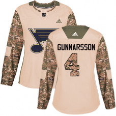 Women's Carl Gunnarsson Authentic St. Louis Blues #4 Camo Veterans Day Practice Jersey