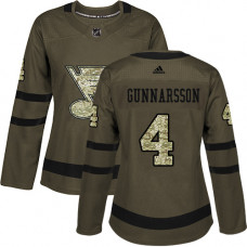 Women's Carl Gunnarsson Authentic St. Louis Blues #4 Green Salute to Service Jersey
